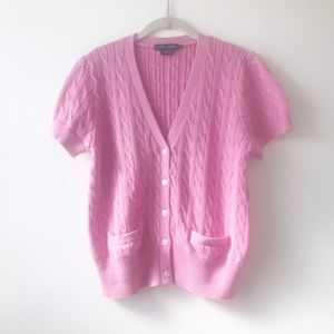 Ralph Lauren Pink Short Sleeve Cardigan Top  XL